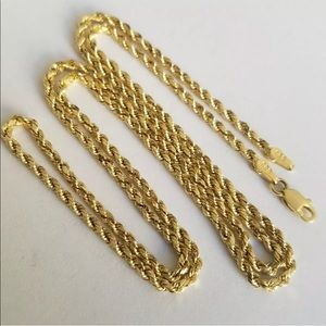 Jewelry - 14k Solid Real Yellow Gold Rope Chain Necklace